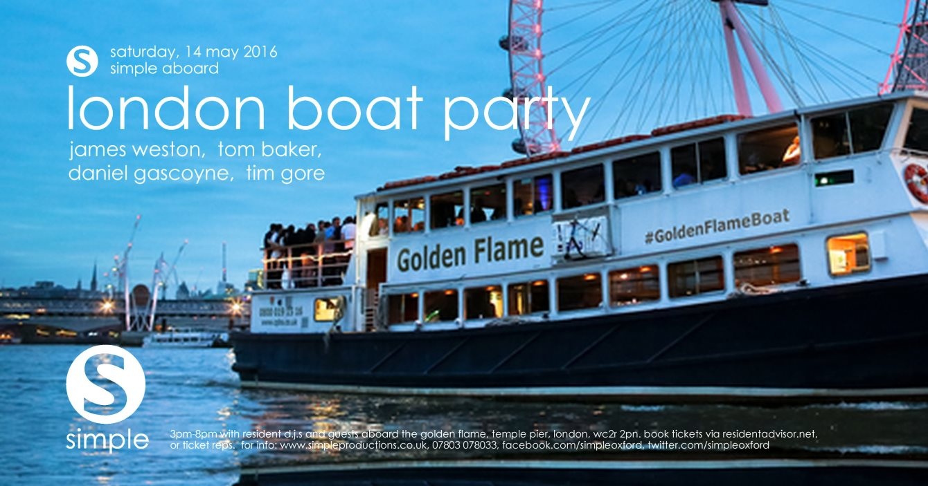 Simple's London Boat Party - Flyer front