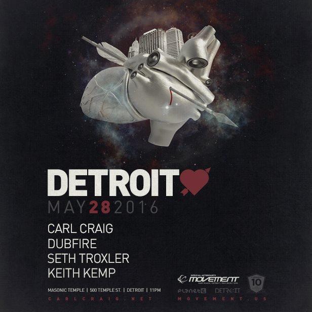Detroit Love: An Official Movement Detroit Afterparty with Carl Craig, Dubfire, Seth Troxler  - Flyer front