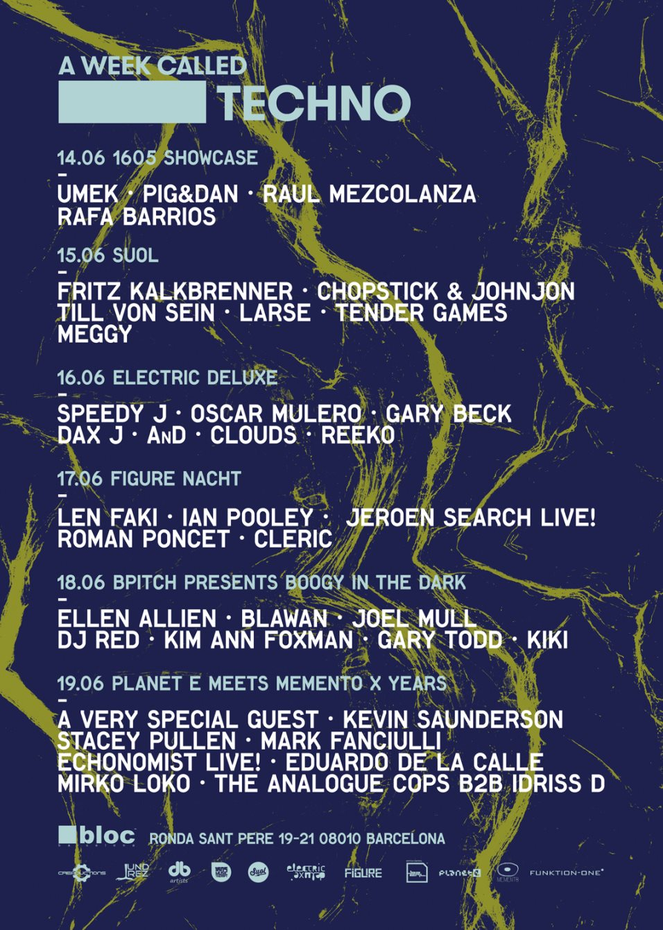 A Week Called Techno Feat. 1605 Showcase - Flyer back