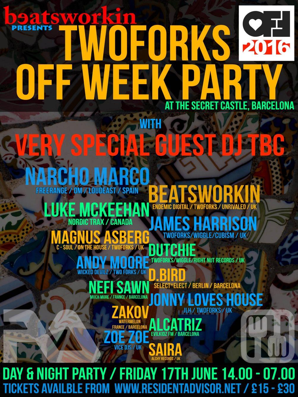 [CANCELLED] Beatsworkin presents: Twoforks Off Week Secret Castle Party with Vincenzo & Funk D'void - Flyer back