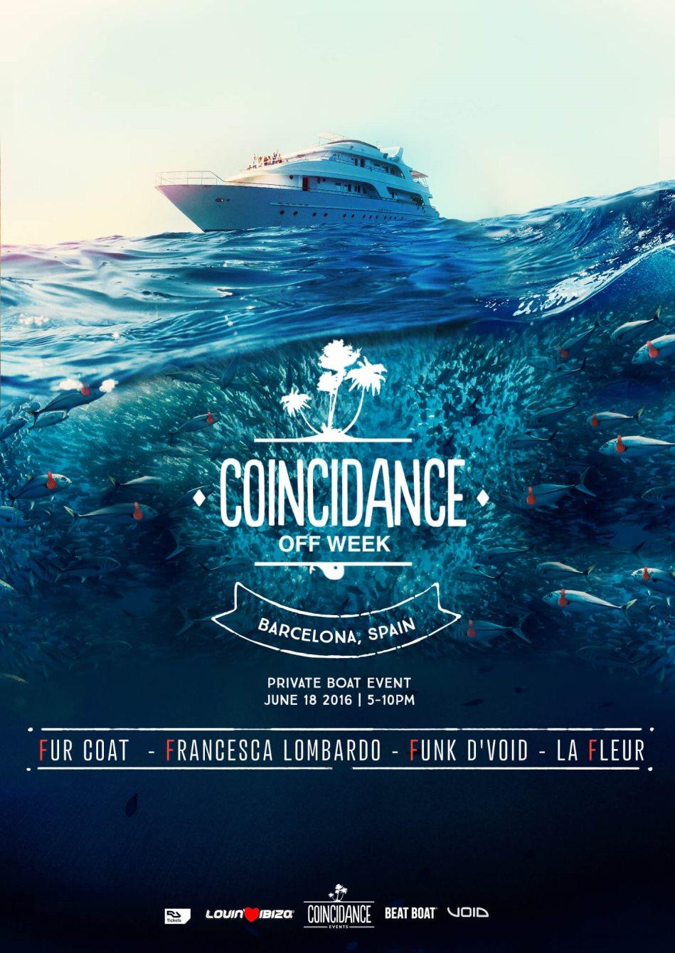 Coincidance Off Week with Fur Coat, Francesca Lombardo, La Fleur, Funk D'void - Flyer front