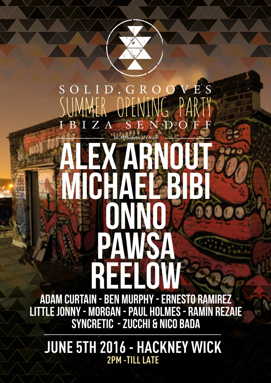 Solid.Grooves - Hackney Wick - Summer Opening Party - Flyer front