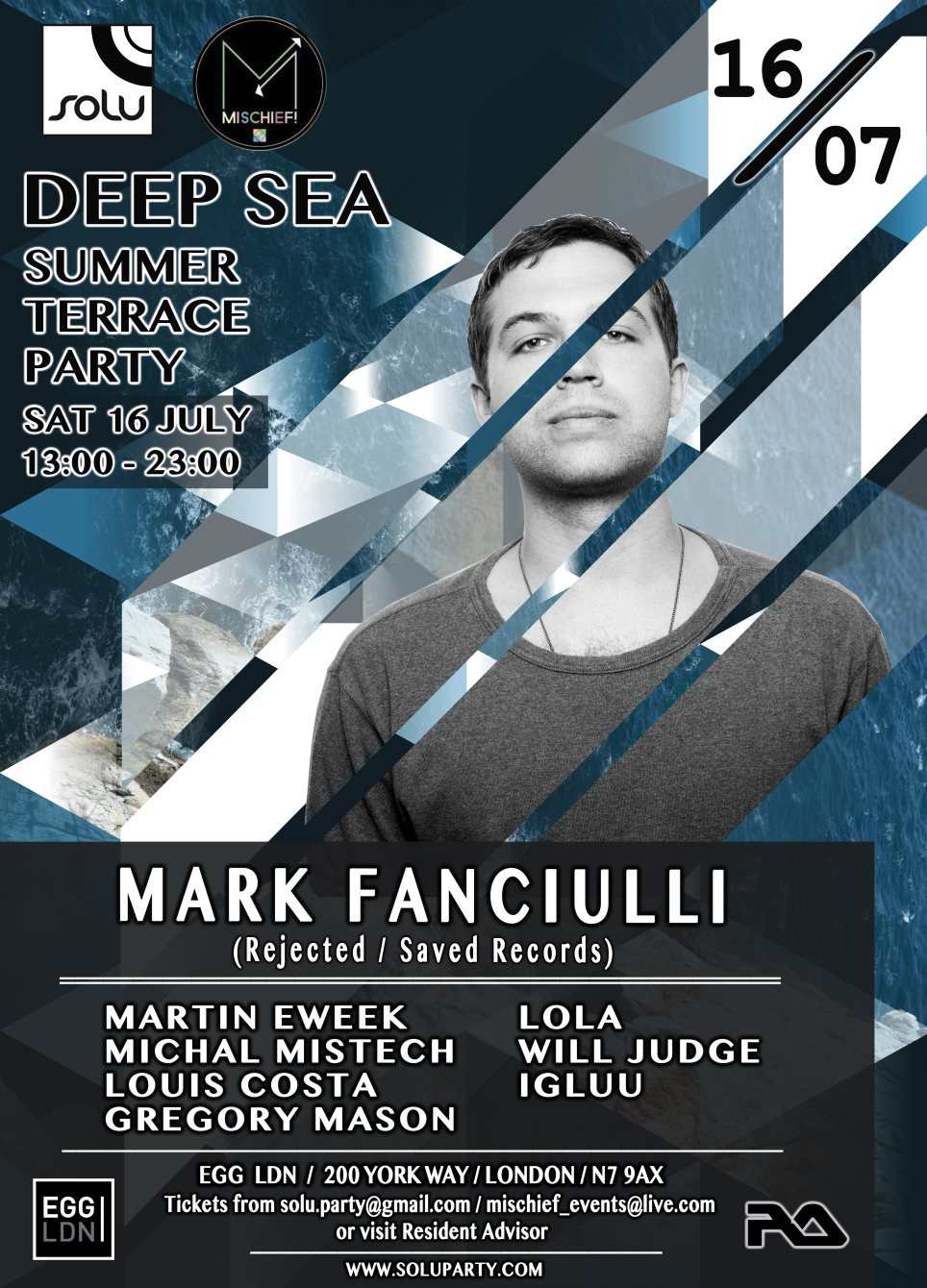 Deep Sea Summer Terrace Party with Mark Fanciulli - Flyer front