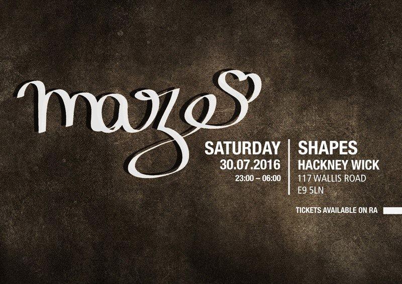 Maze with JEF K + Soho b2b Simon Rigg (Phonica Records) + Sam Bangura + Eyesmoon - Flyer front