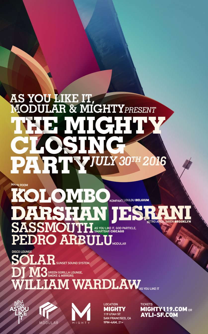Mighty Closing Party! with Kolombo / Darshan Jesrani - Flyer front