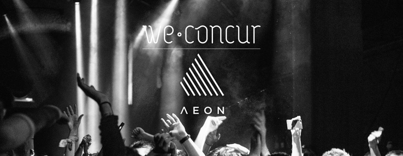 We Concur x Aeon with Alex Niggemann, Midnight Operator (Mathew & Nathan Jonson) & More - Flyer front
