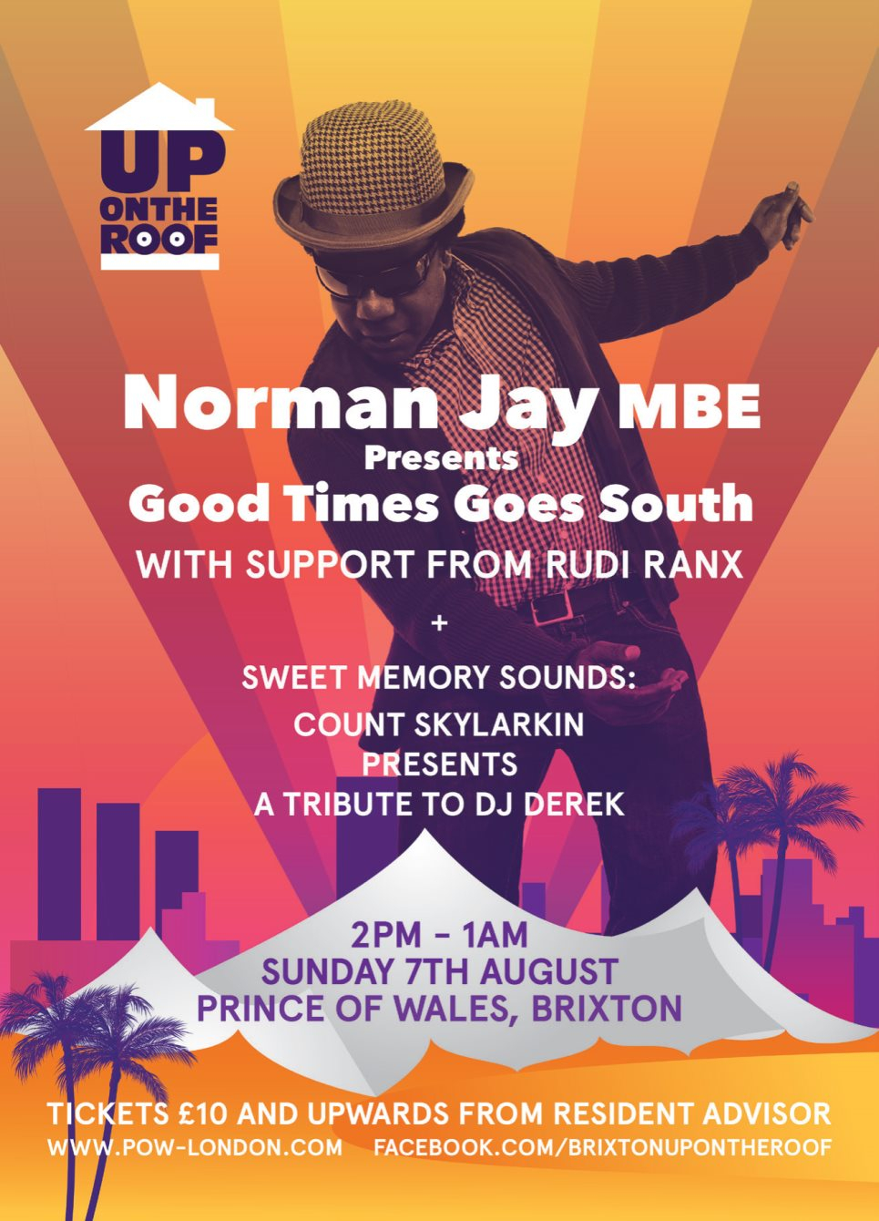 Norman Jay...Up On The Roof - Good Times Goes South - Flyer back