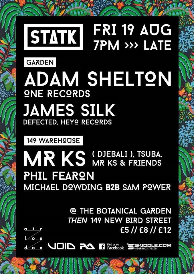 Statk presents Adam Shelton & Mr KS - Flyer front