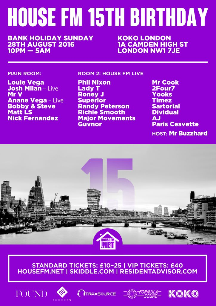 House FM 15th Birthday - Flyer front
