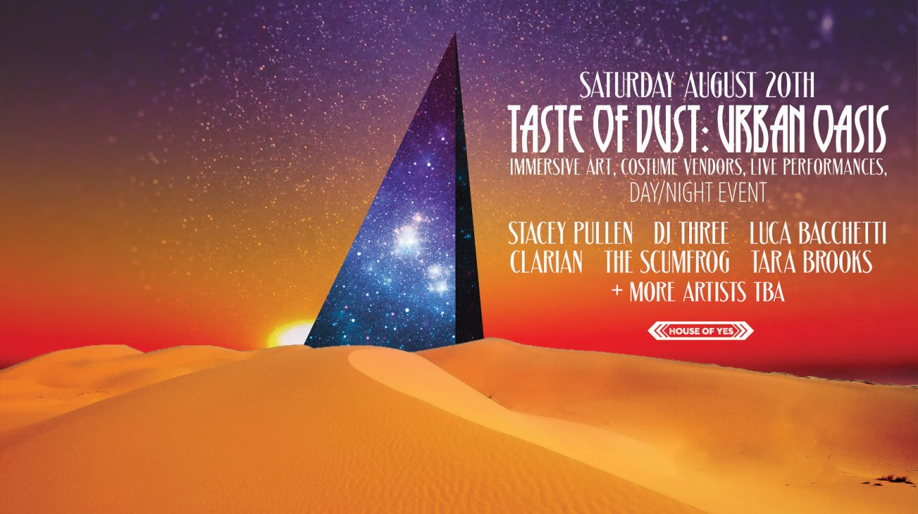Taste of Dust with Stacey Pullen, Three, Luca Bacchetti, Clarian & More - Flyer front
