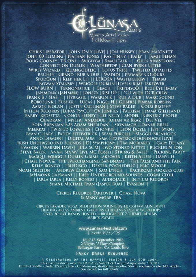 Lúnasa Festival 2016 - Flyer front