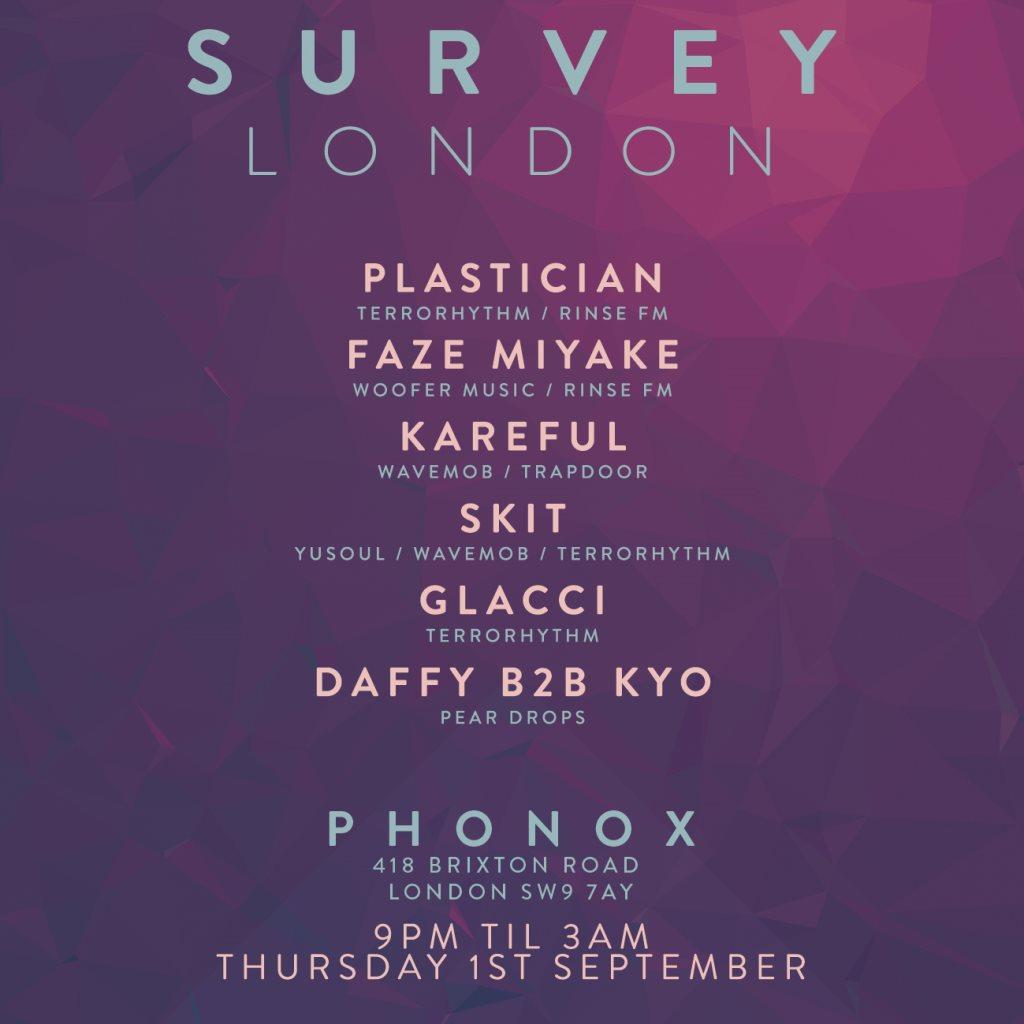 Survey London with Plastician, Faze Miyake, Kareful & More - Flyer front