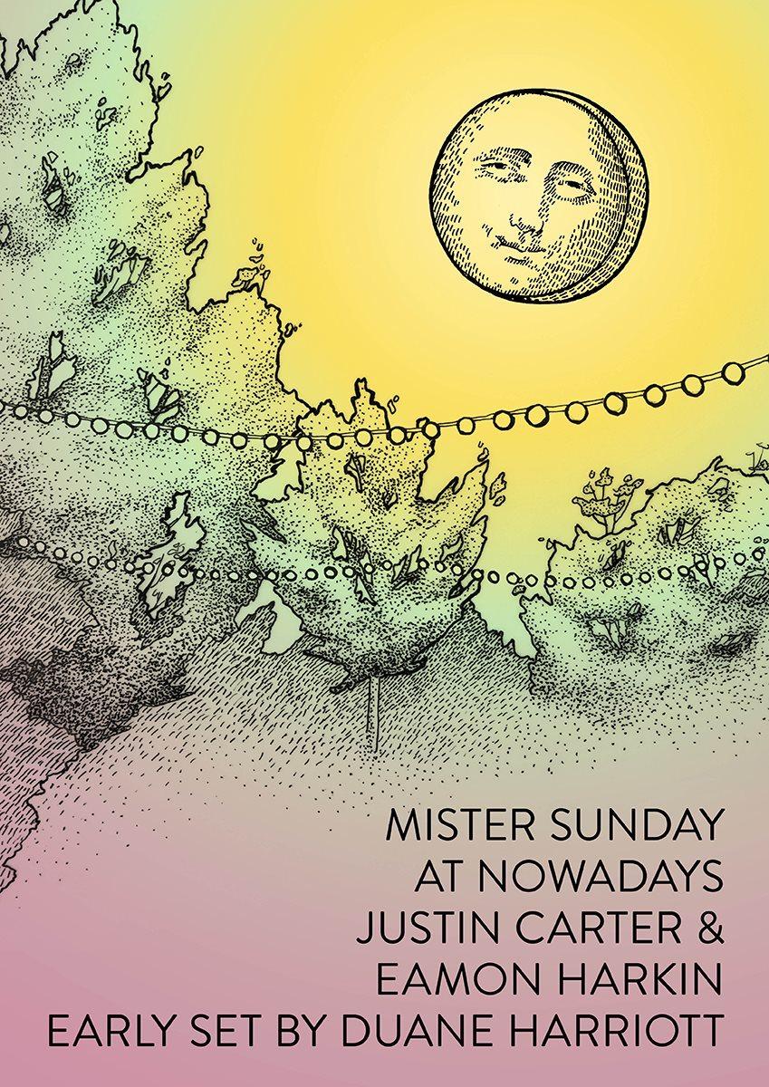 Mister Sunday with Duane Harriott, Eamon Harkin and Justin Carter - Flyer back