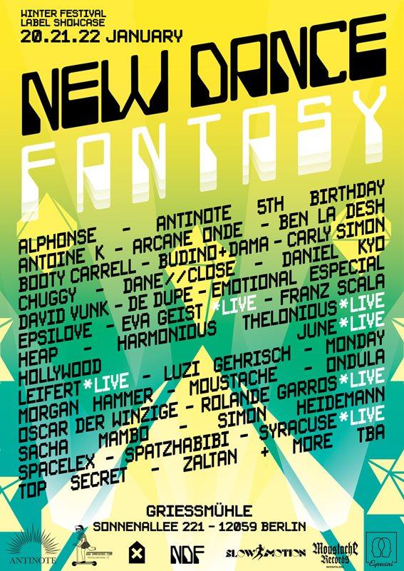 New Dance Fantasy Festival - Winter Label Showcase - Flyer front