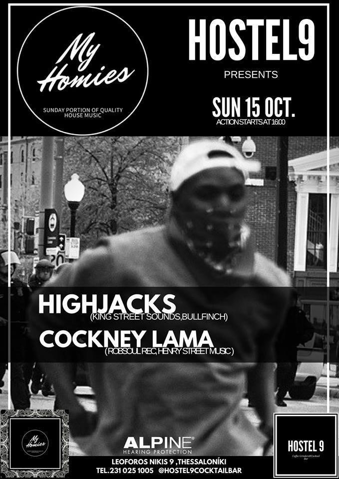 My Hommies Pres. Highjacks & Cockney Lama - Flyer front