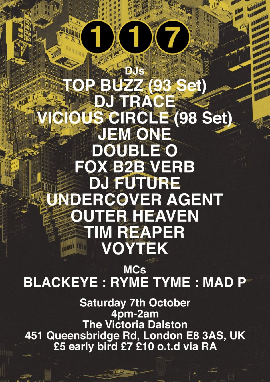117 - Launch Party Alldayer - Flyer front
