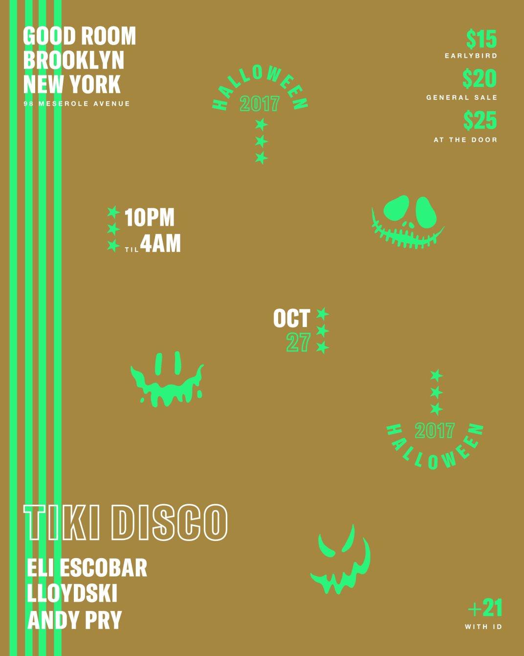 Tiki Disco Halloween AT Goodroom - Flyer front