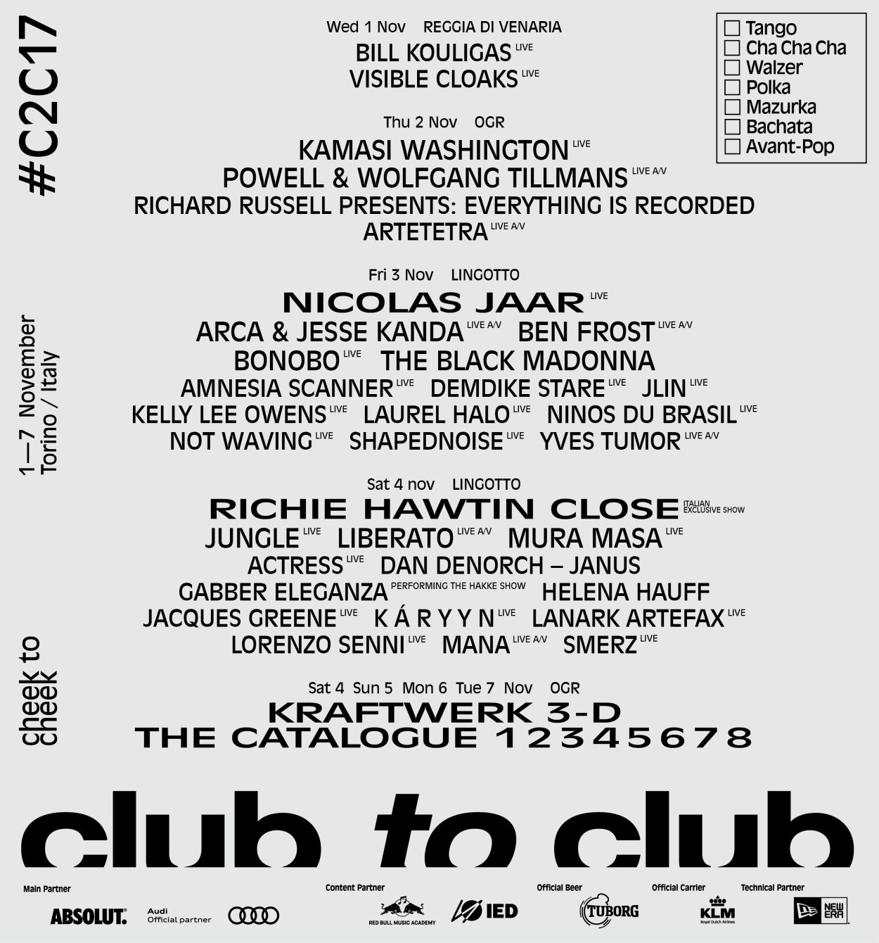 Club to Club 2017 - Flyer front