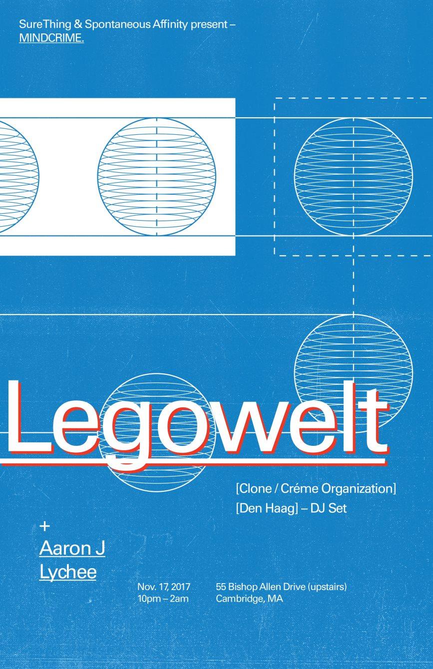 Mindcrime: Legowelt, Aaron J, Lychee - Flyer front