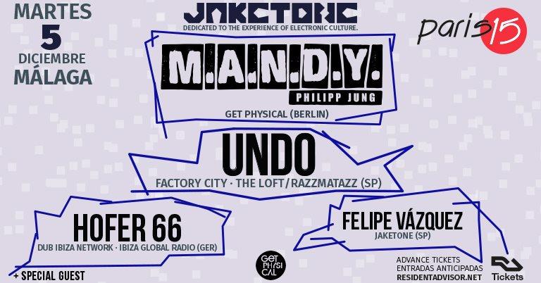 JAKETONE: M.A.N.D.Y., Undo, Hofer66, Felipe Vázquez - Flyer front