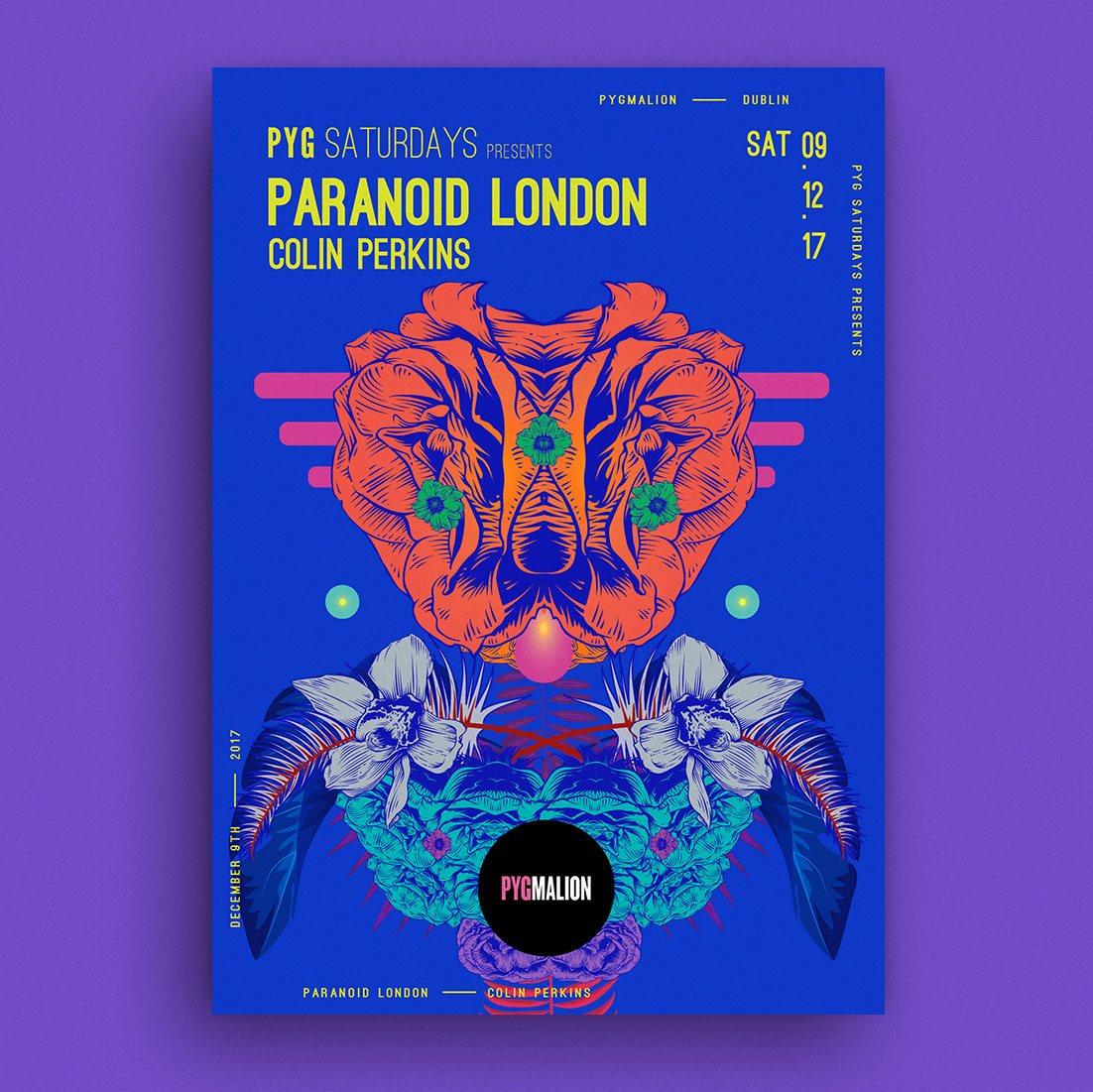 Pyg presents Paranoid London - Flyer front