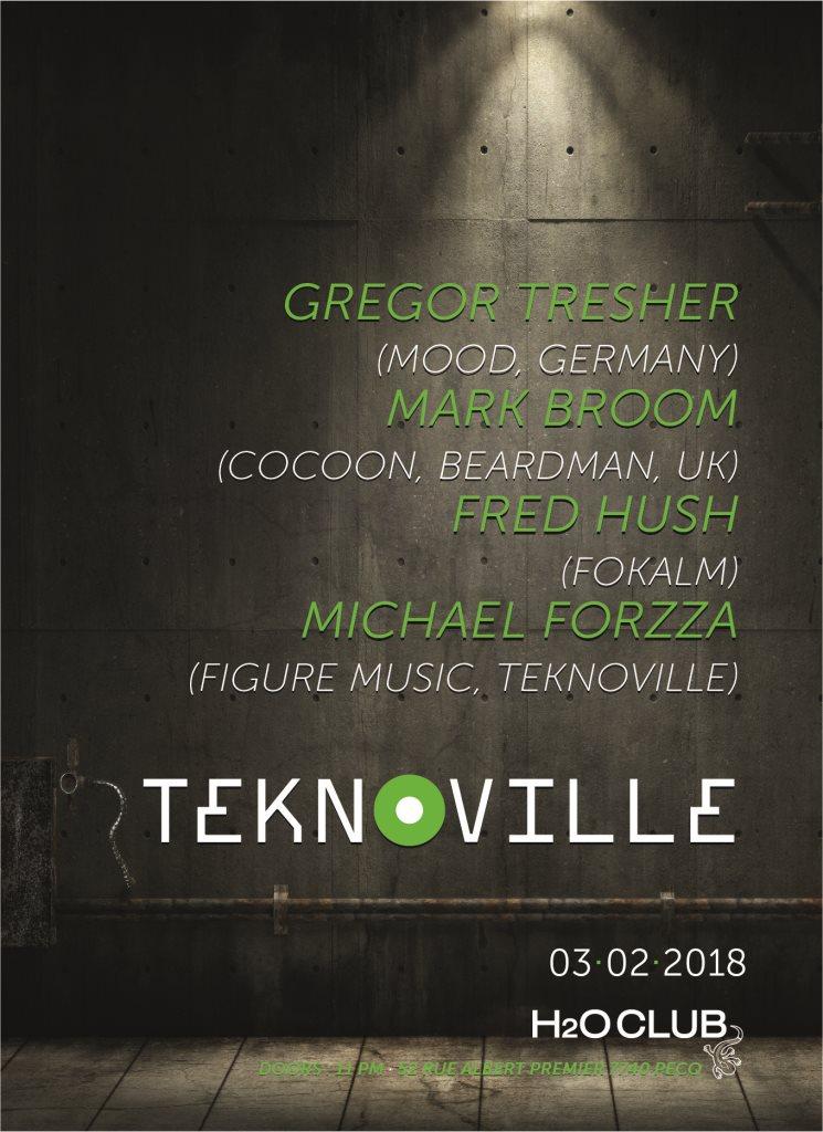 Teknoville with Gregor Tresher and Mark Broom - Flyer front