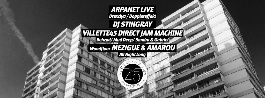 Concrete [Villette45]: Arpanet Live, Dj Stingray, Villette45 jam Machine, Mezigue, Amarou - Flyer front