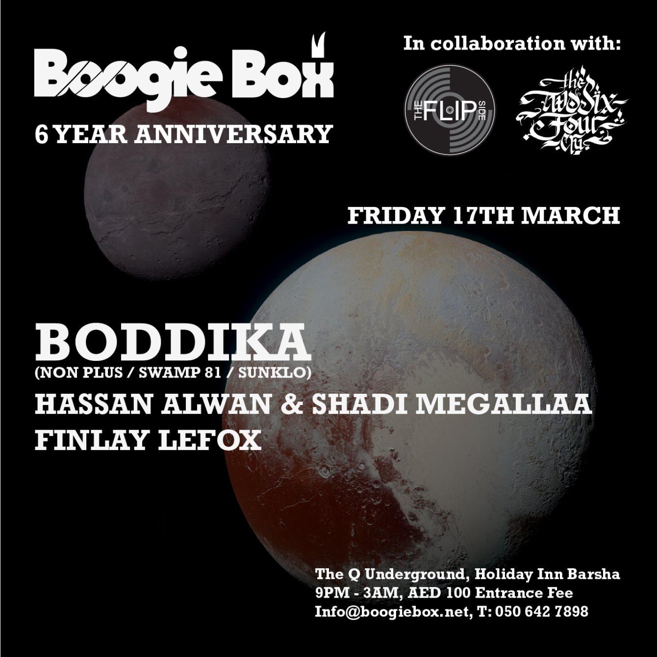 Boogie Box x The 264 Cru x The Flip Side present: Boddika - Flyer front