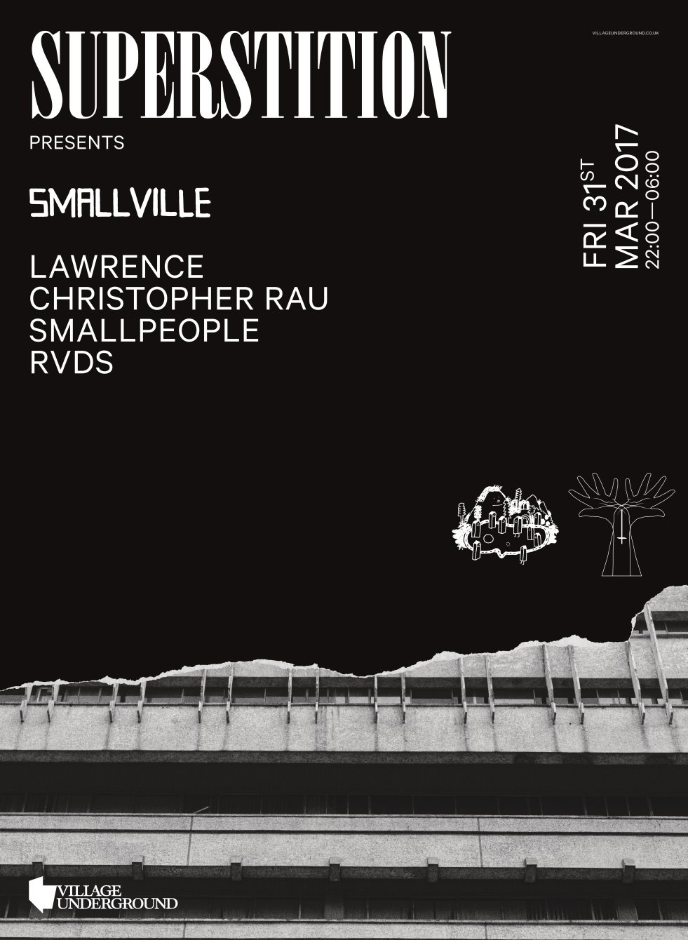 Superstition X Smallville - Lawrence, Christopher Rau, Smallpeople, RVDS - Flyer front