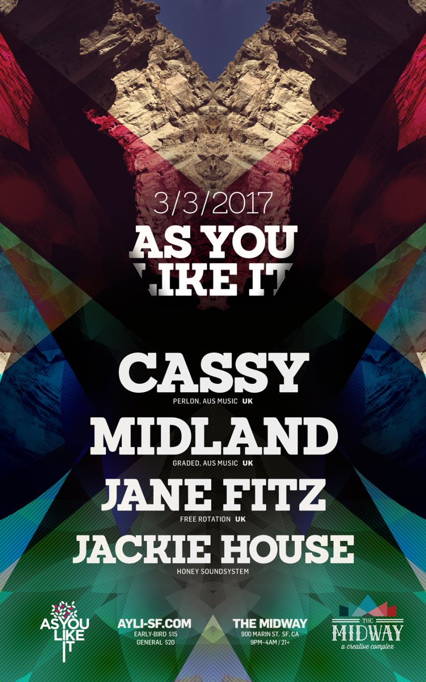 As You Like It with Cassy, Midland, Jane Fitz and Jackie House - Flyer front