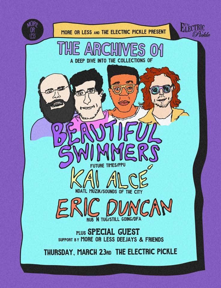 The Archives 01: Beautiful Swimmers, Kai Alce, Eric Duncan by More or Less & Electric Pickle - Flyer front