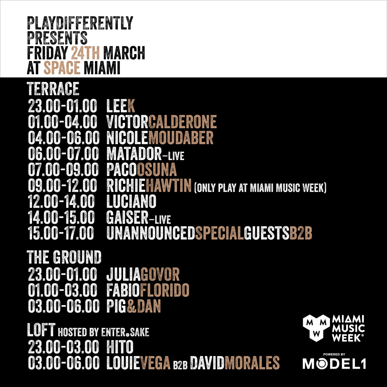 Playdifferently presents Friday 24th March at Space Miami - Flyer front