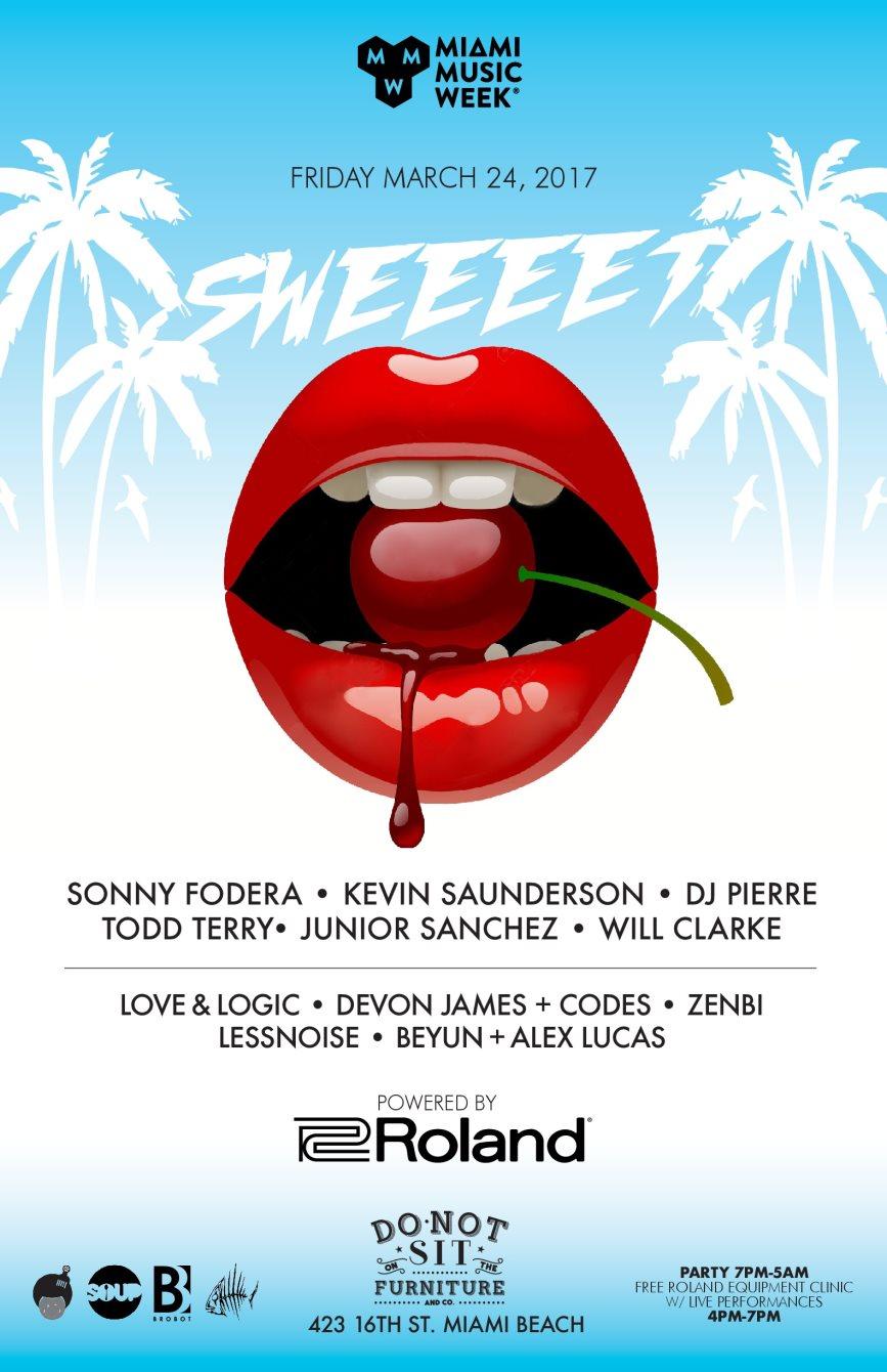 Sweet - Sonny Fodera, Kevin Saunderson, DJ Pierre, Todd Terry, Will Clarke, Junior Sanchez - Flyer front