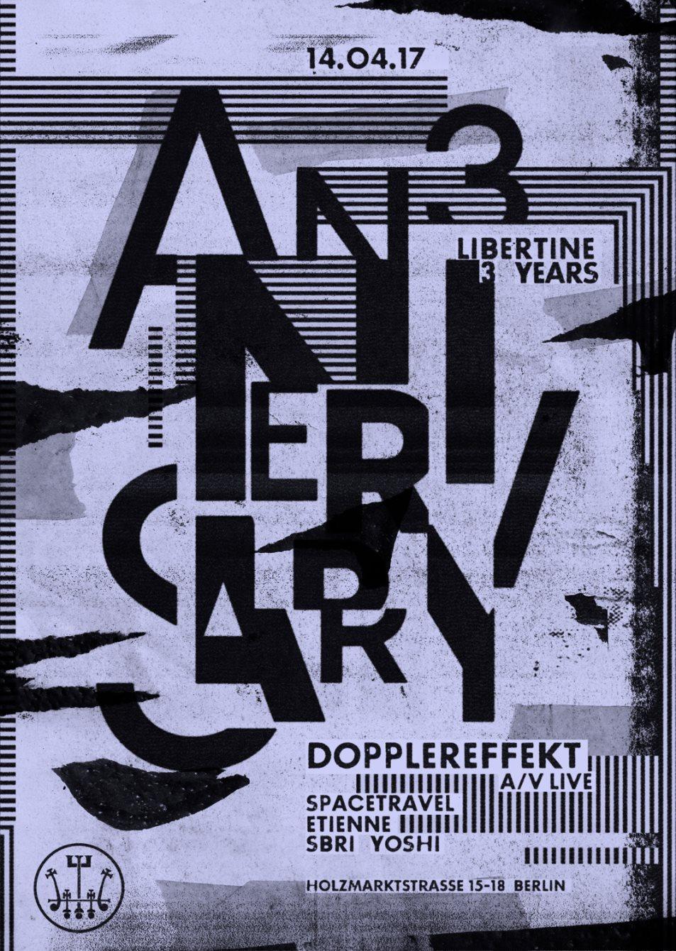Libertine 3 Years Anniversary with Dopplereffekt ( A/V Live ) - Flyer front