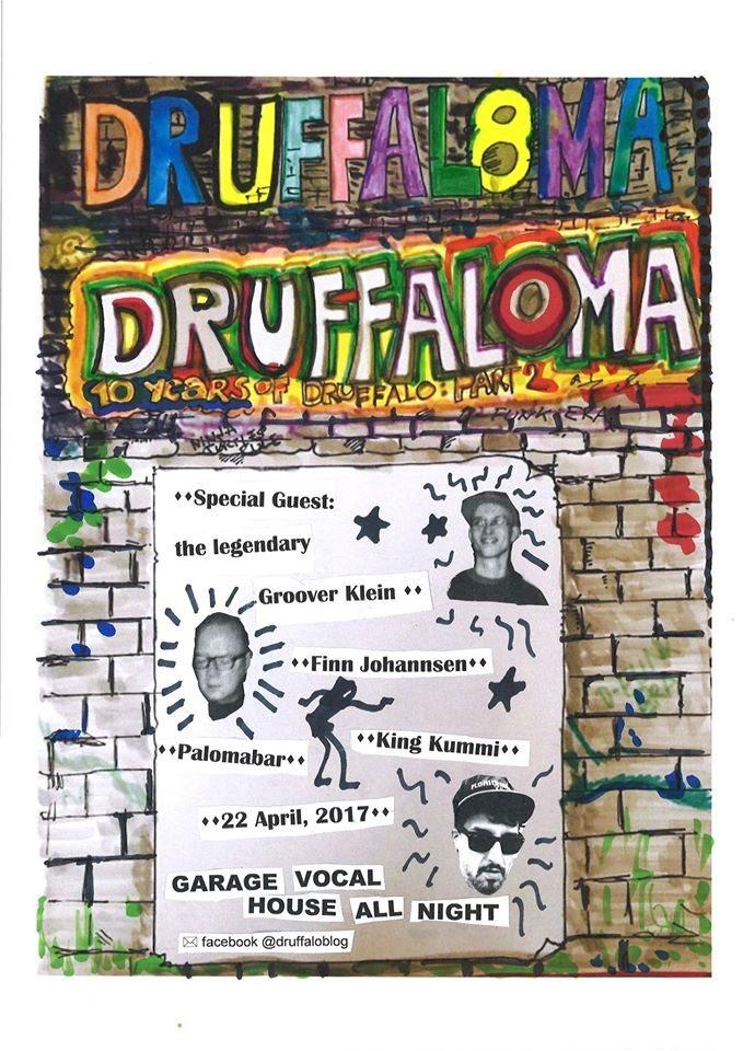 Druffaloma 8 - Garage House Allnighter - Flyer front