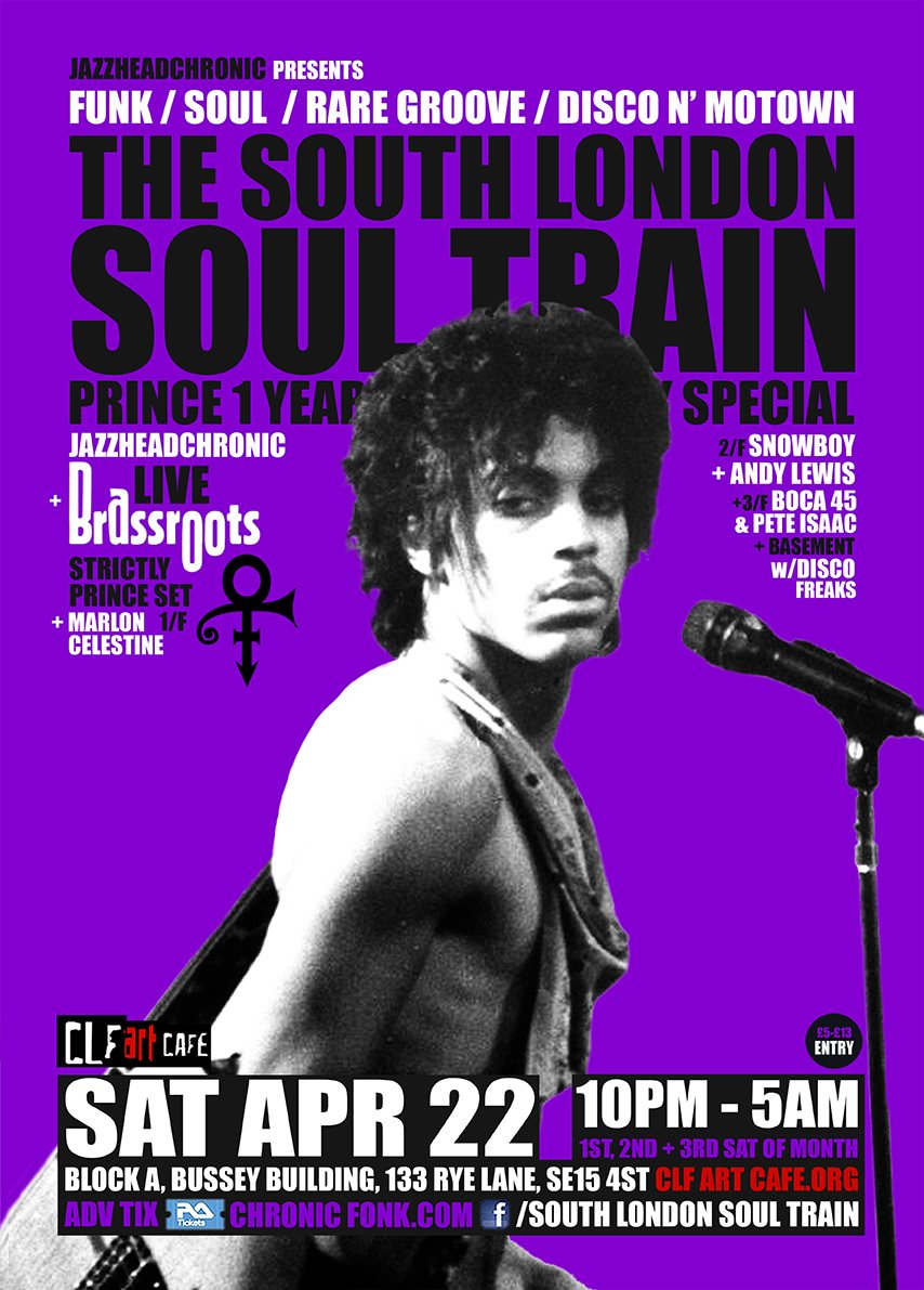 The South London Soul Train Prince 1 Year Anniversary Special - More on 4 Floors - Flyer front