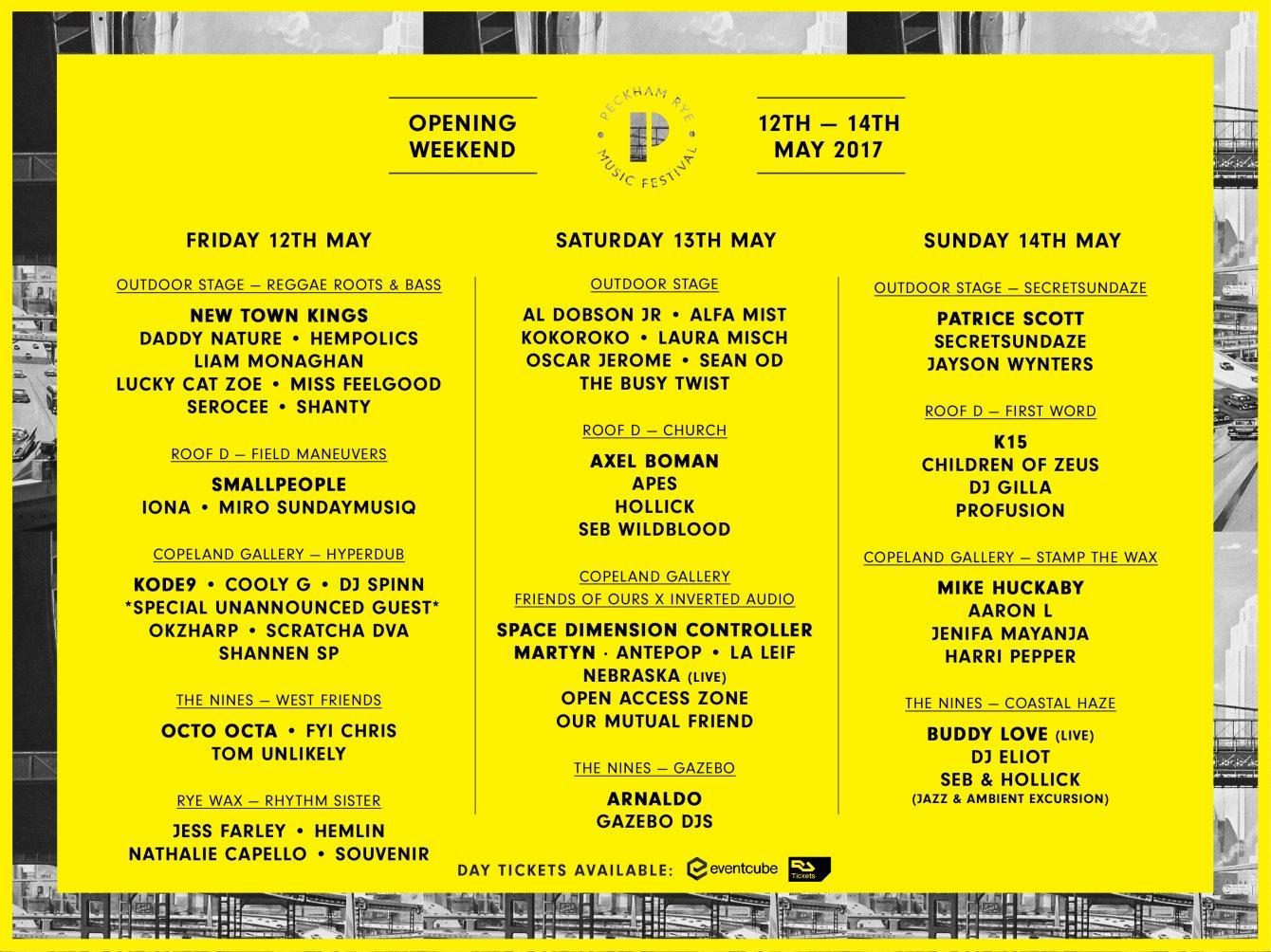 Peckham Rye Music Festival 2017 Opening Weekend - Flyer back