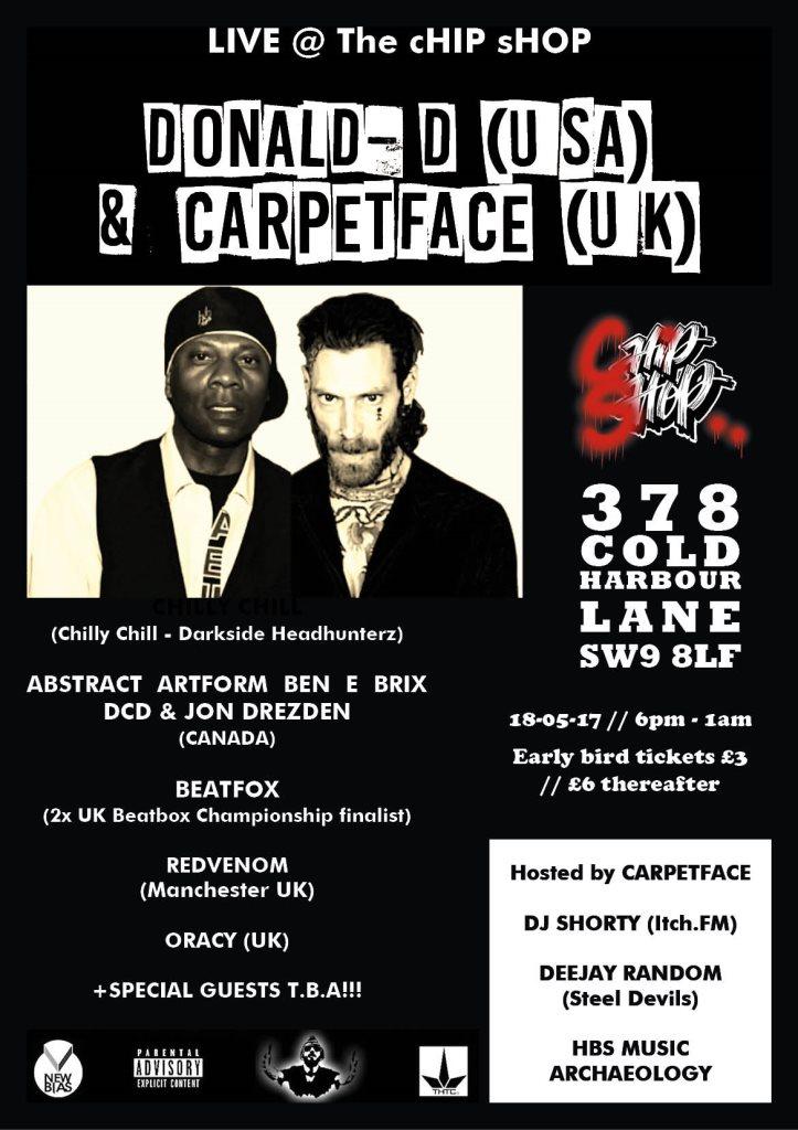 Donald D & Carpetface - Flyer front