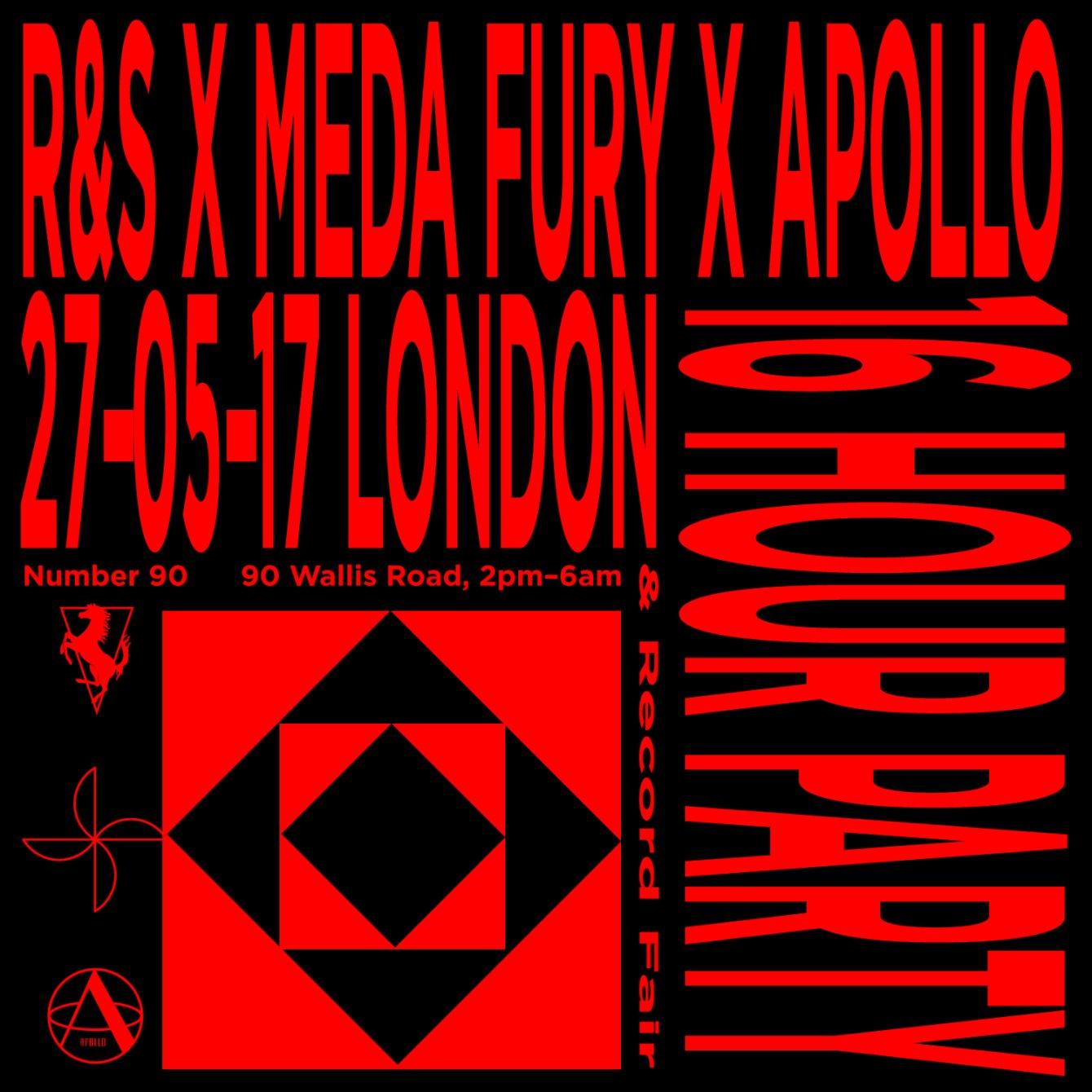 R&S Records x Meda Fury x Apollo: 16 Hour Party & Record Fair - Flyer front