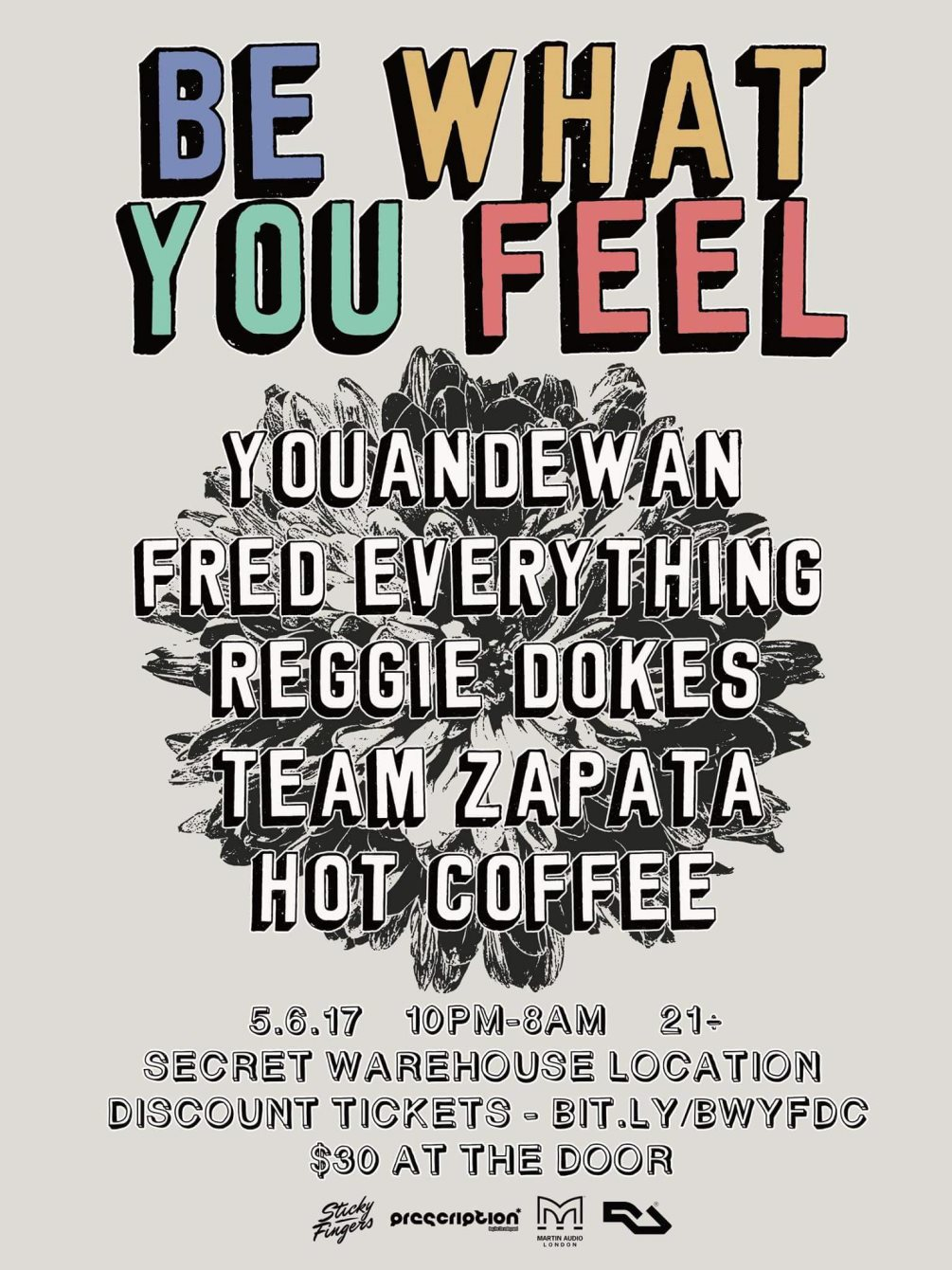 Be What You Feel with Youandewan, Fred Everything, Reggie Dokes - Flyer front