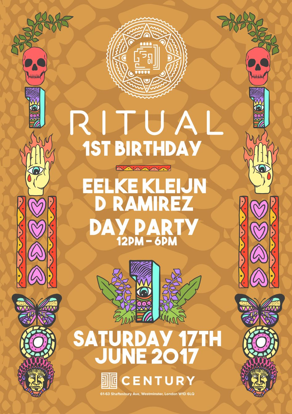Ritual 1st Birthday - Rooftop Day Party with Eelke Kleijn, OC & Verde, D Ramirez + After Party - Flyer front