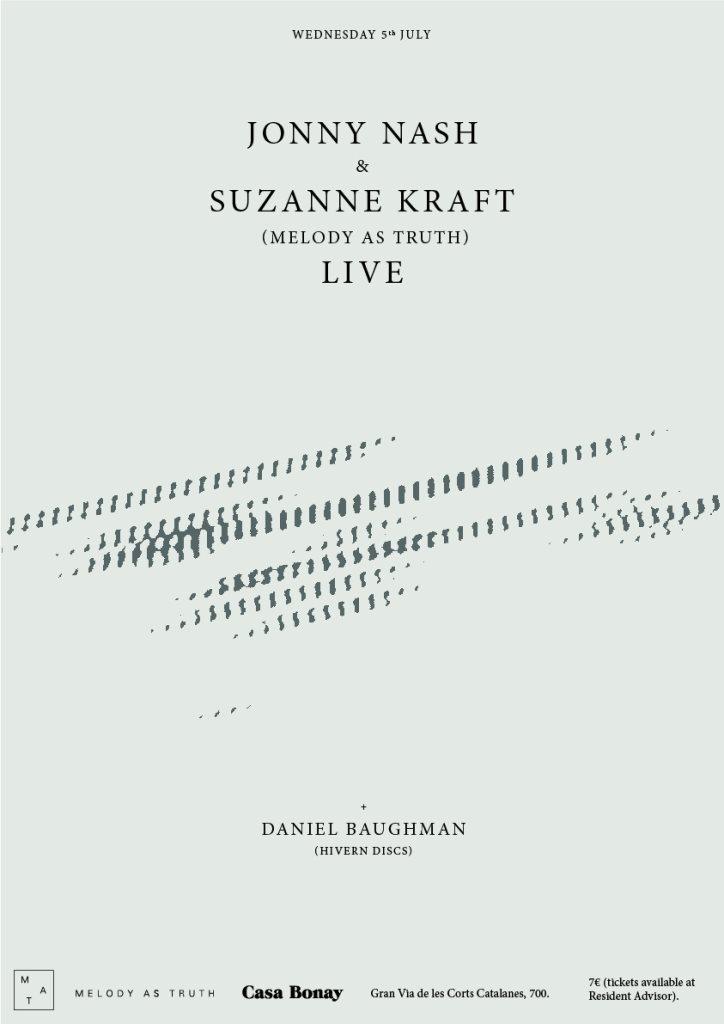 Jonny Nash & Suzanne Kraft (Melody As Truth) Live at Casa Bonay - Flyer front