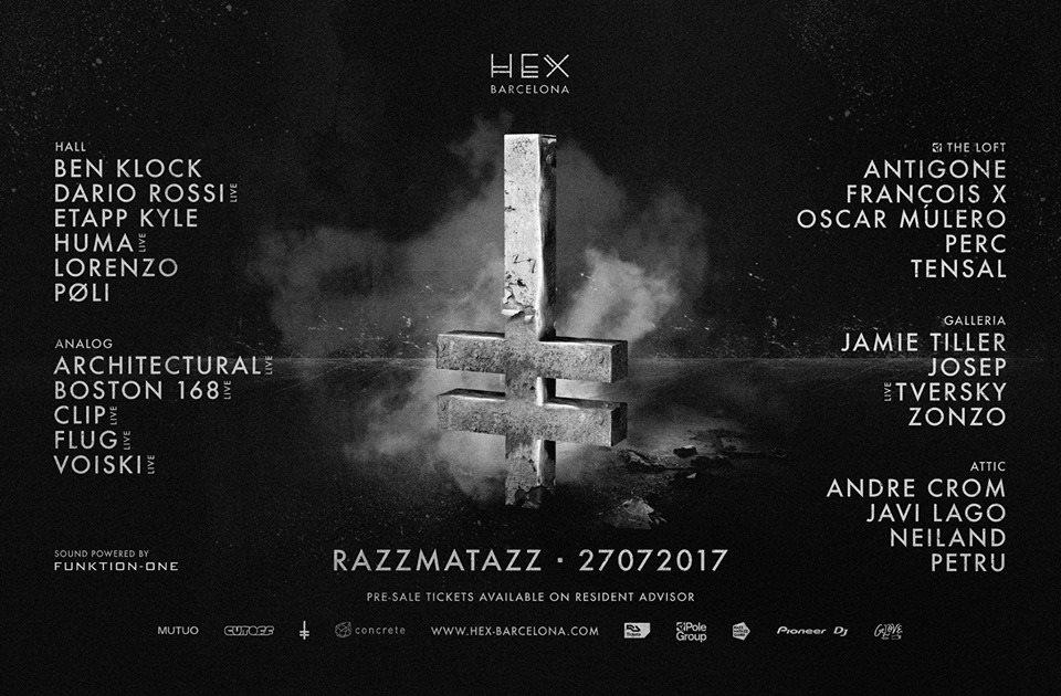 HEX at RZZ with Ben Klock, Oscar Mulero, Etapp Kyle, Perc and More - Flyer back