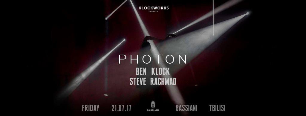 Bassiani: Klockworks presents Photon: Ben Klock & Steve Rachmad - Flyer front
