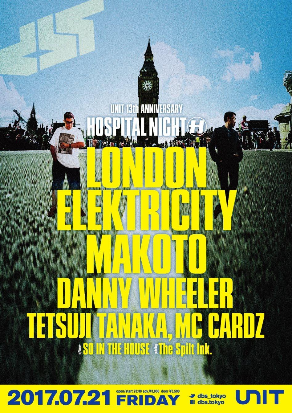 Unit 13th Anniv. DBS: 'Hospital Night' London Elektricity & Makoto - Flyer front