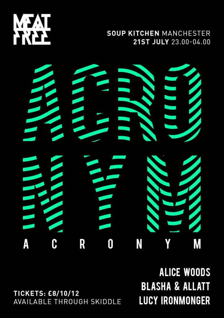 Meat Free with Acronym (Manchester Debut) - Flyer front