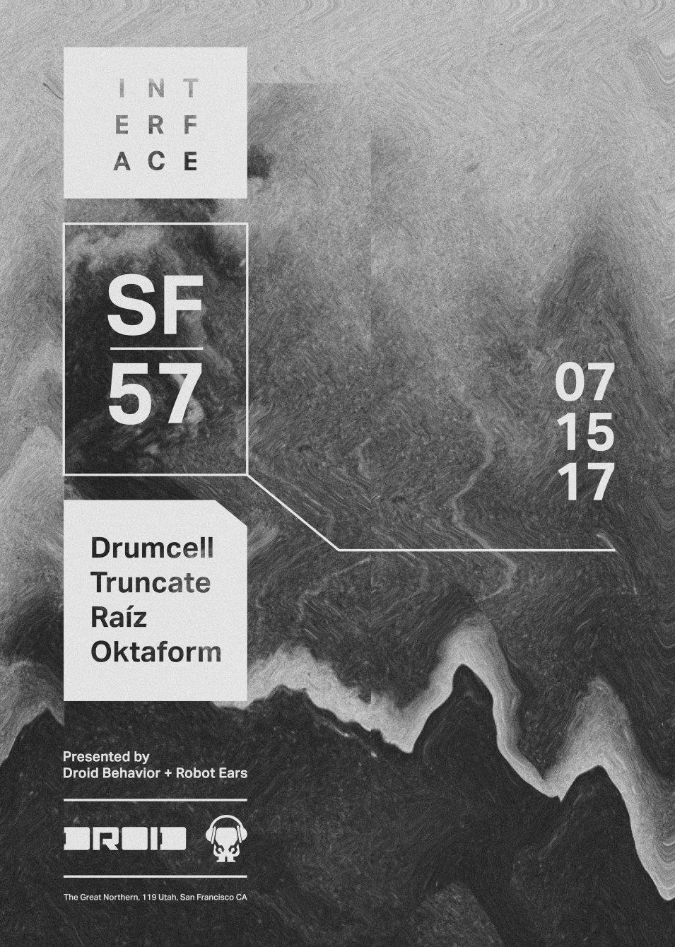 Interface 57 with Drumcell, Truncate, Raiz, Oktaform - Flyer back