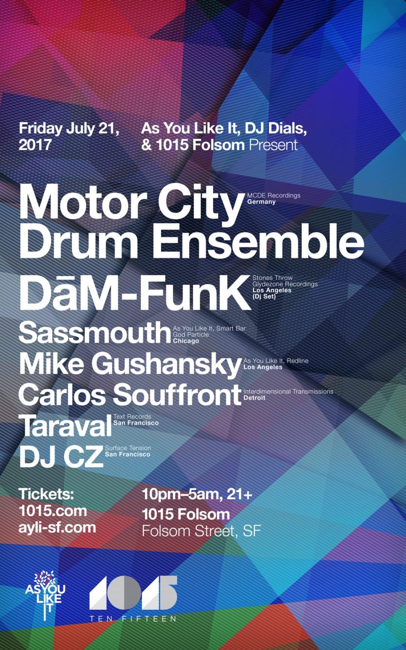 Ayli, DJ Dials and 1015 present Motor City Drum Ensemble & Dam Funk - Flyer front