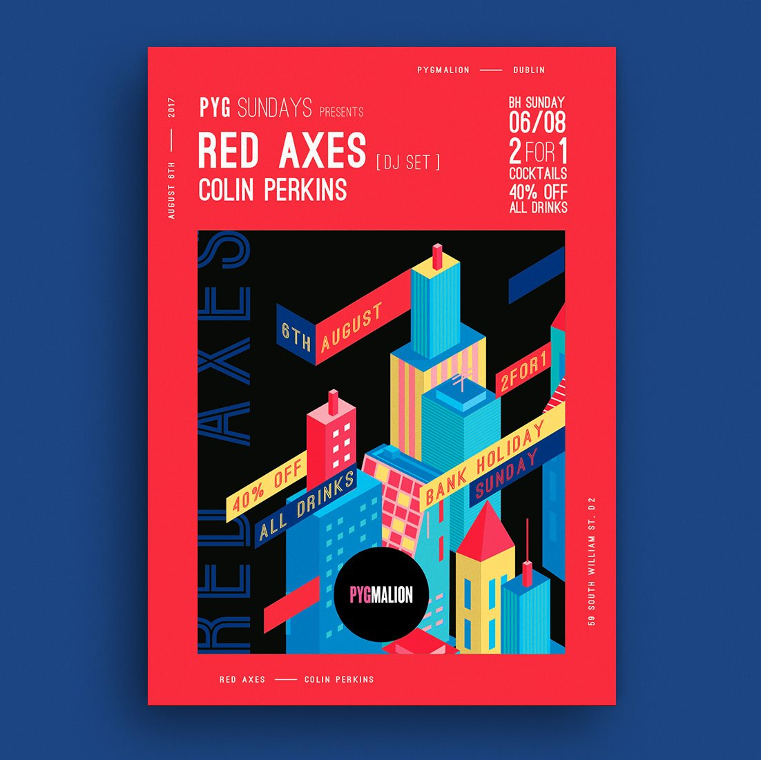 Pyg Sundays presents Red Axes - Flyer front