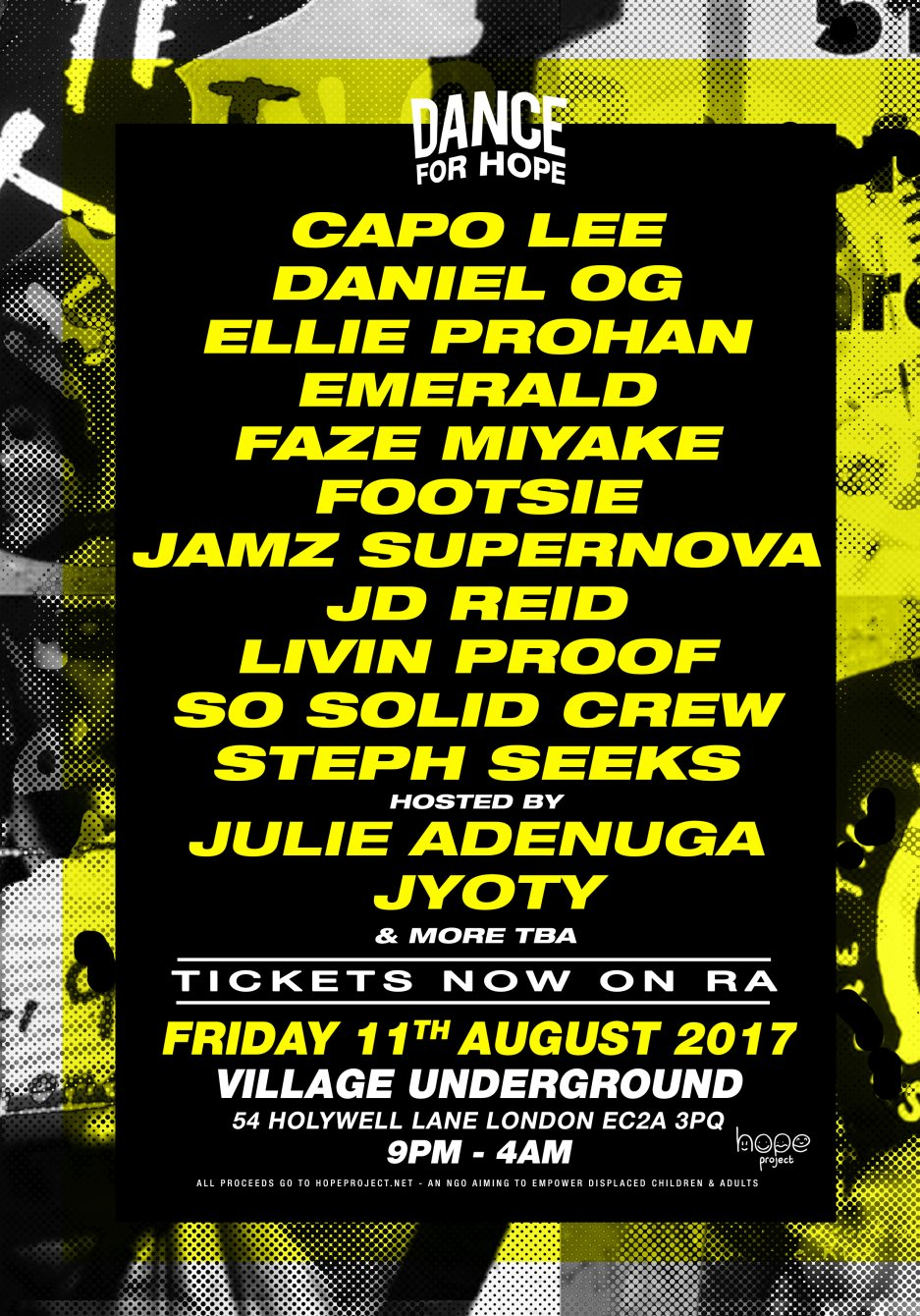 Dance For Hope: So Solid Crew, Footsie, Jamz Supernova and More - Flyer front